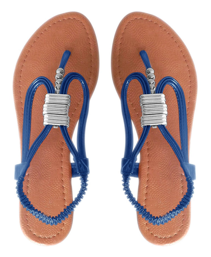 Womens Chic Slingback T-Strap Beaded Strappy Sandal 1 Inch Wedge (6, Blue)