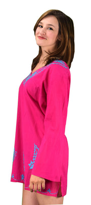 Peach Couture Summer Women Oversized Cotton Embroidered Cover-up Beachwear Tunic