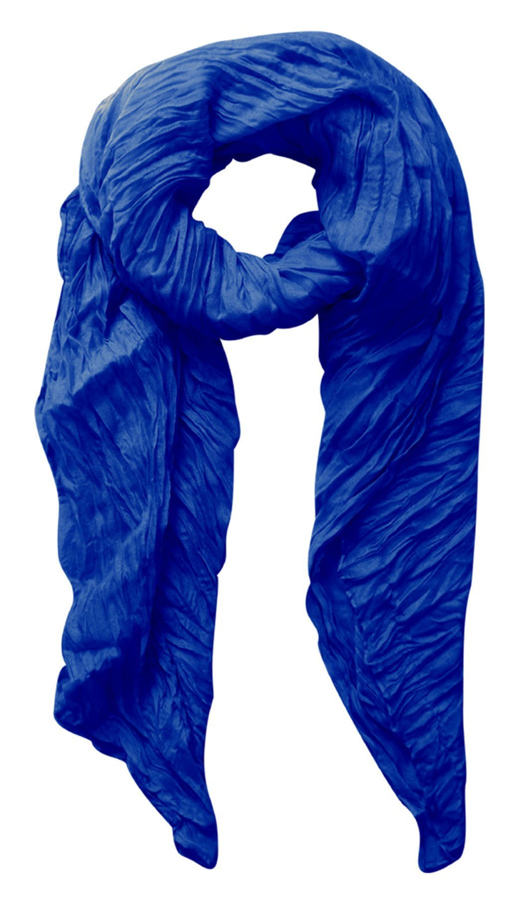 Royal Blue Peach Couture Solid Colorful Soft Crinkled Lightweight Versatile Wrap Scarf