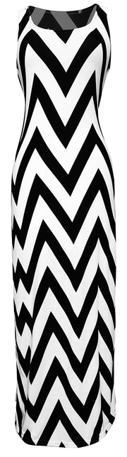Women's Chevron Boho Chic Maxi Spring Summer Dress 2 Tone (Small, Black/White)