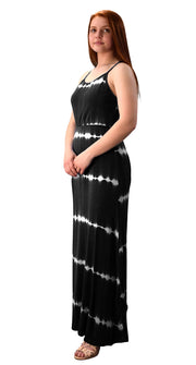 Spaghetti Strap Scoop Neck Gathered Waist Tie Dye Summer Maxi Dress