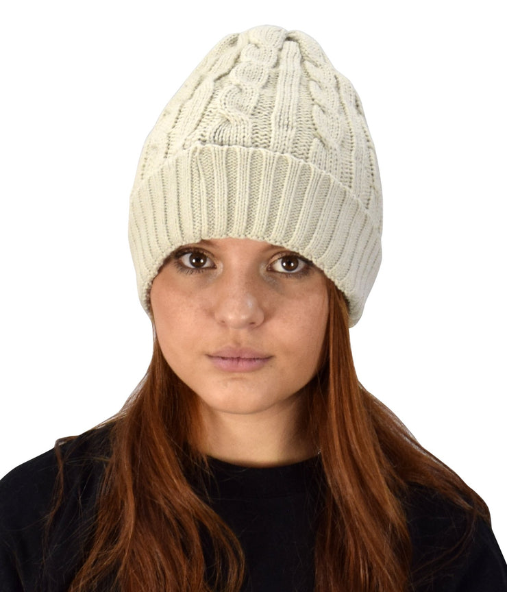 Double Layer Fleece Lined Unisex Cable Knit Winter Beanie Hat Cap