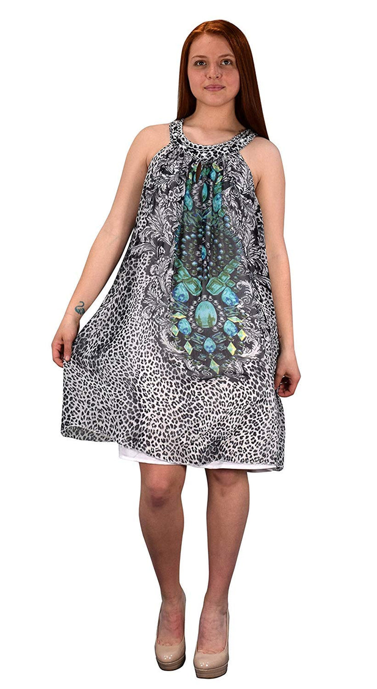 Bohemian Free-Flowing Floral Tunic Vacation Summer Frock Swing Dress (Small, Animal Turquoise)