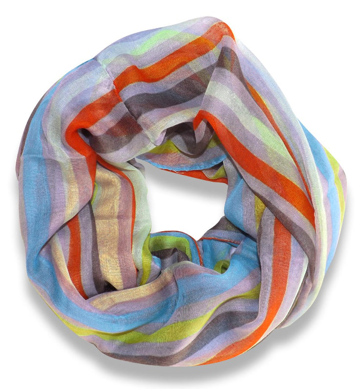 Peach Couture Trendy Striped Print Light and Soft Fashion Infinity Loop Scarf