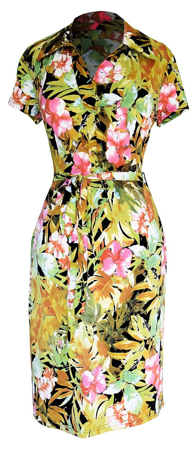 Peach Couture Retro Fun Printed Shift Dress with Waist Tie Belt