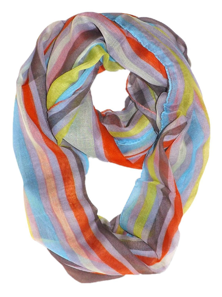 Mint Peach Couture Trendy Striped Print Light and Soft Fashion Infinity Loop Scarf