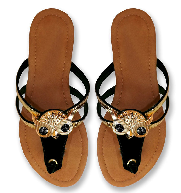 Gem Studded Open Back Synthetic Leather Flat Thong Sandal