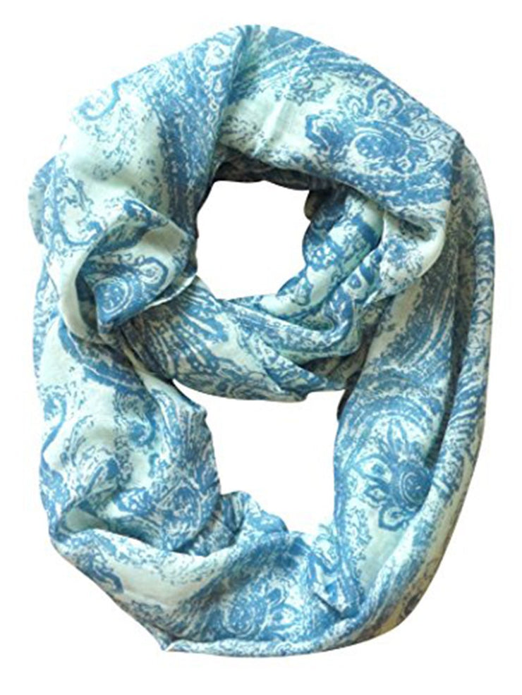 Blue Peach Couture Beautiful Graphic Sunflower Paisley Print Infinity Loop Scarf