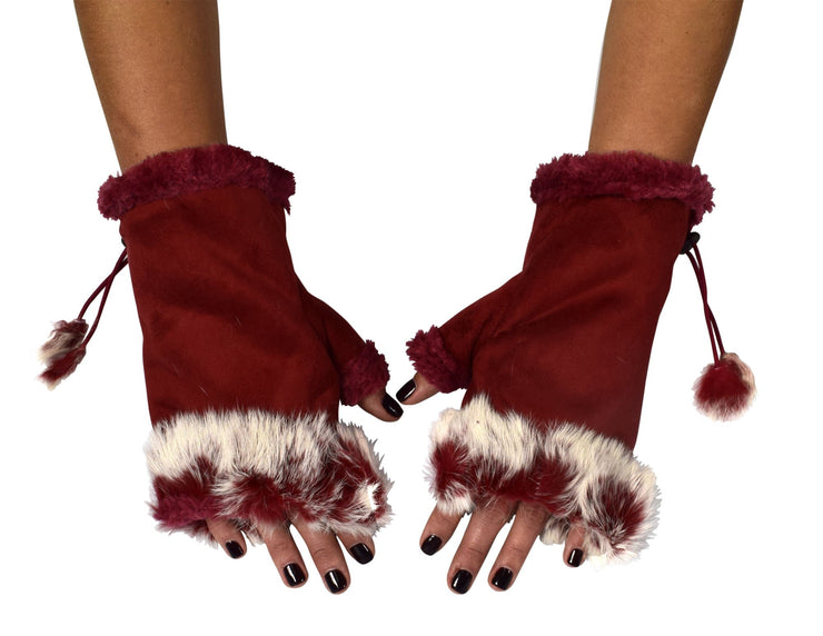 B1332-Suede-Fur-Gloves-Red-FBA-New-OS