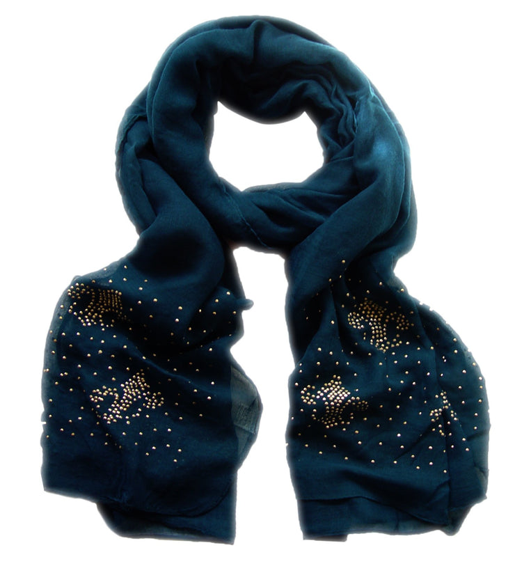 Midnight Blue Peach Couture Classic Glittering Sparkle Studded Scarf Shawl Wrap