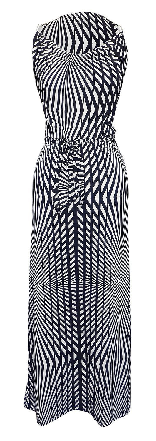 Womens Geometric Striped Metallic Shoulder Belted Maxi Dress