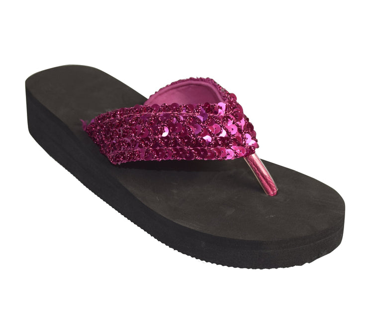 Women's Fashion Sequin Foam Wedge Heeled Platform Beach Sandal