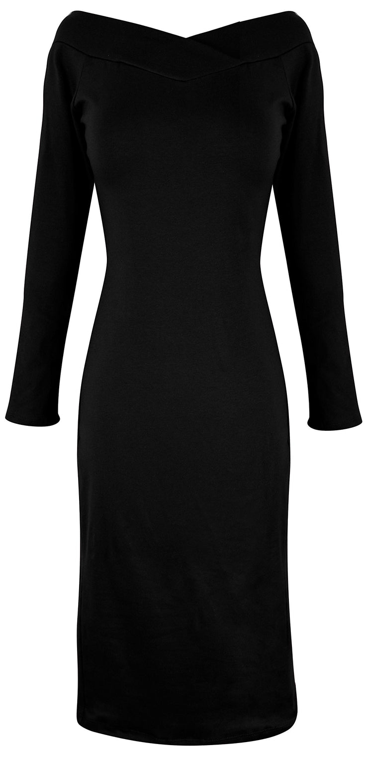 A6889-Bdycon-Dress-Solid-Black-S-JG