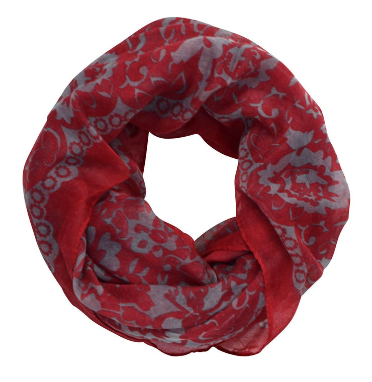 Red/Grey Beautiful Tropical Hawaiian Hibiscus Flower & Lace Design Infinity Loop Scarf