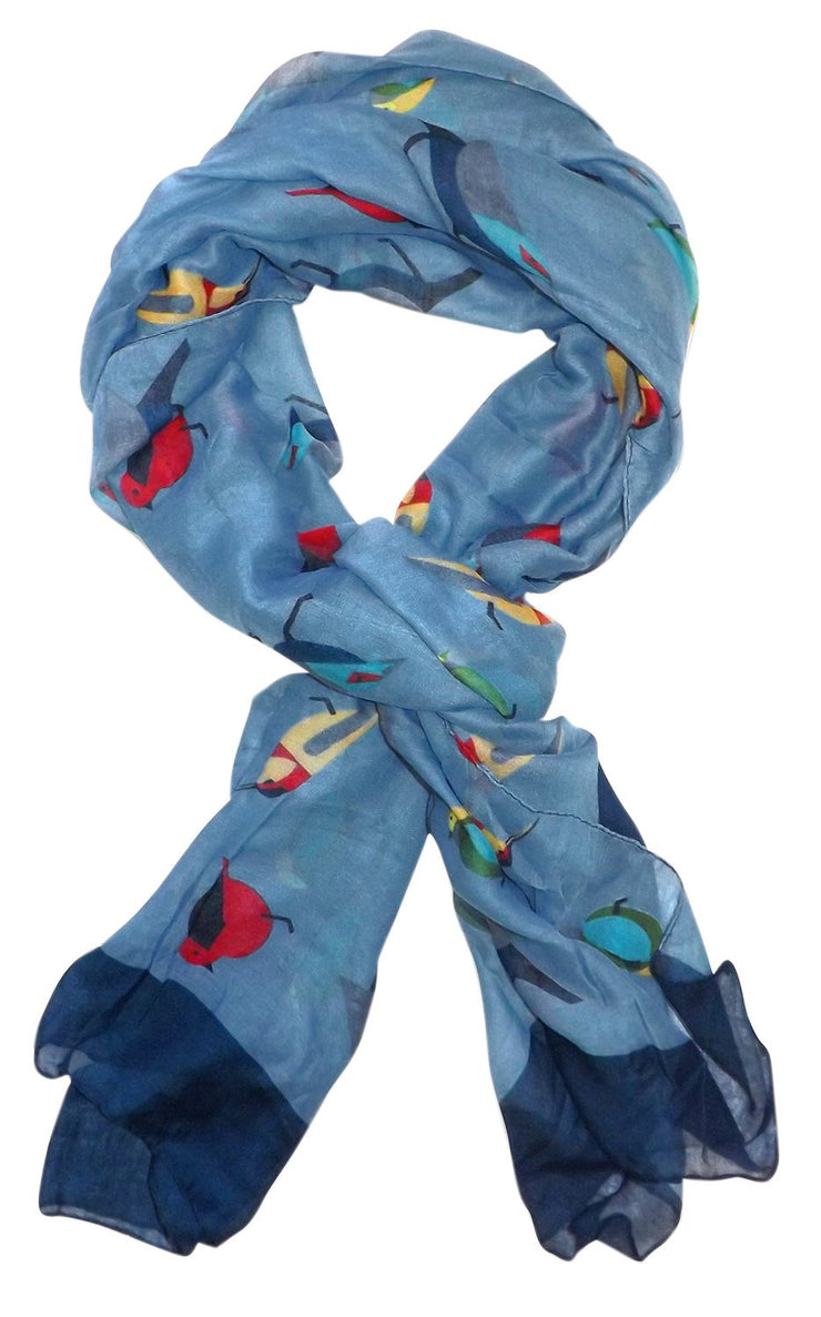Multicolor Graphic Design Lightweight Summer Fall Bird Print Scarf