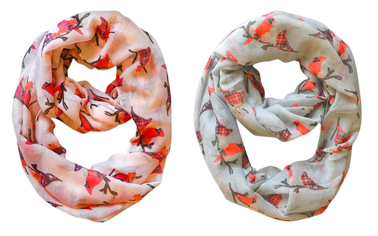 Peach and Grey Peach Couture Beautiful Vintage Two Colored Plaid Bird Print Infinity Loop Scarfs in 2 pack