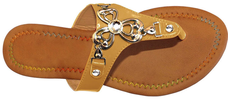 Womens Clover Leaf Gold Embellished Open Back Summer Sandal