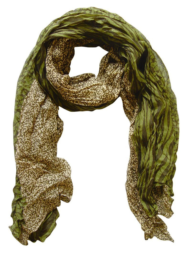 Cream & Green Peach Couture All Seasons Retro Zebra and Leopard Print Crinkle Scarf