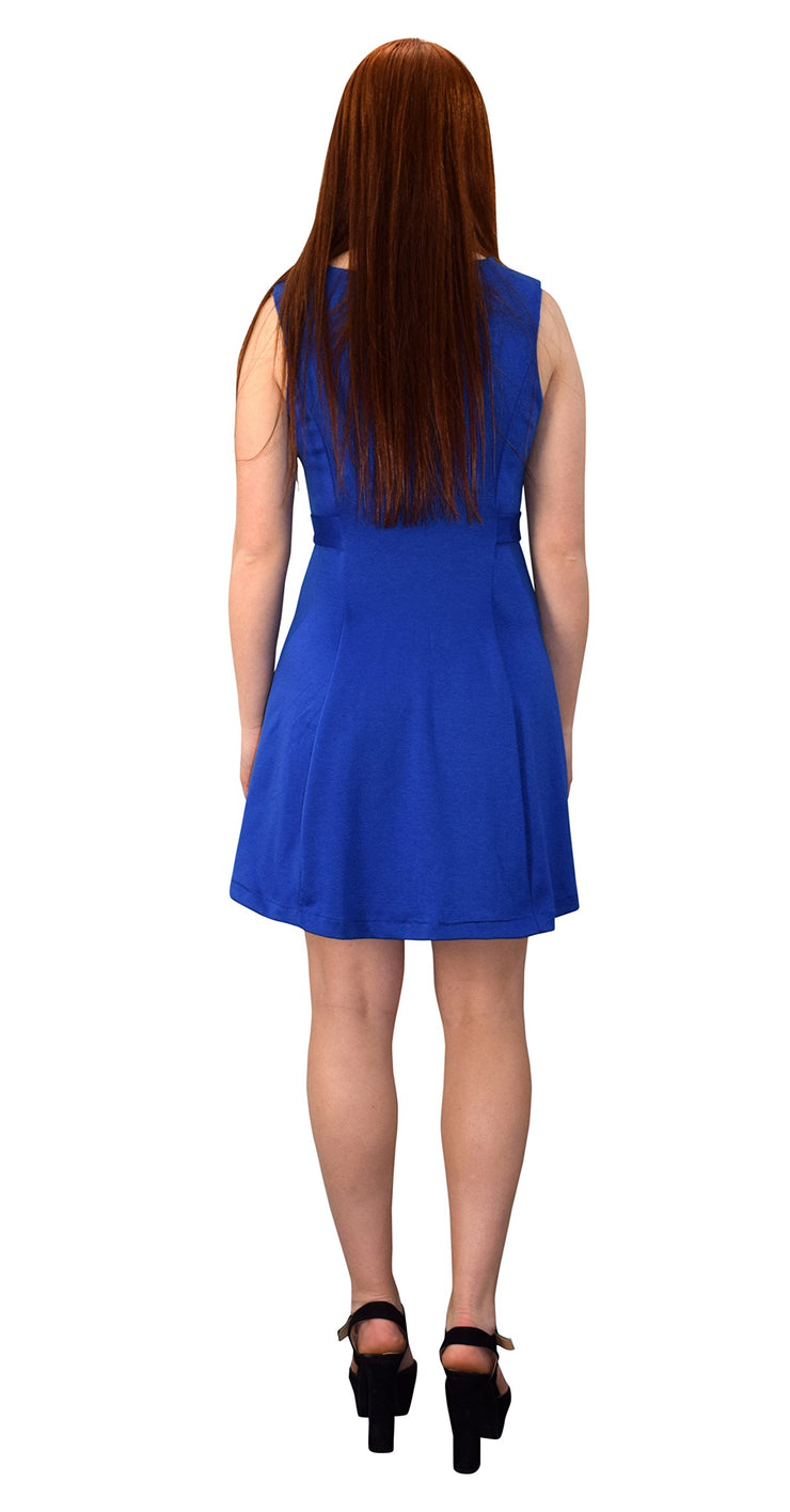 Womens Solid Color Sleeveless Princess Seam A Line Dress