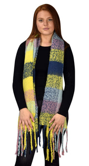 B8958-Plaid-Scarves-Chunky-Yellow-OS