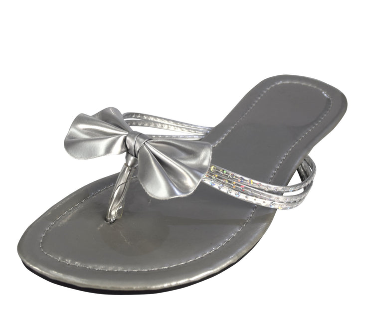 Women's Bow Sequin Embellished Flat Flip Flop Thong Slip on Sandal