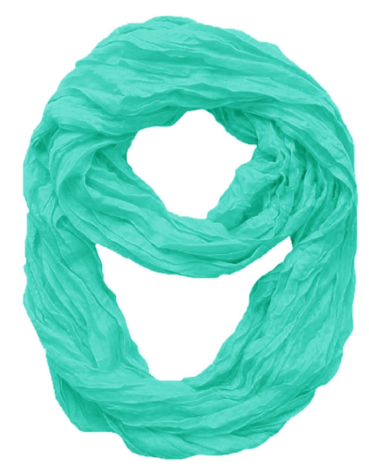Aqua Peach Couture Fashion Lightweight Crinkled Infinity Loop Scarf Neon Faded Ombre