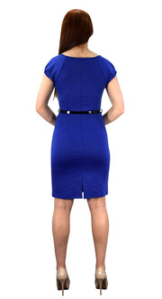 Womens Cap Sleeves Pleated Neck Line Belted Sheath Dress