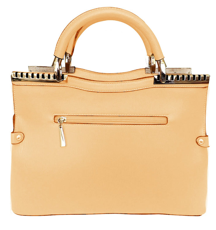 Peach Couture Womens Fashion Metal Accent Satchel Handbag