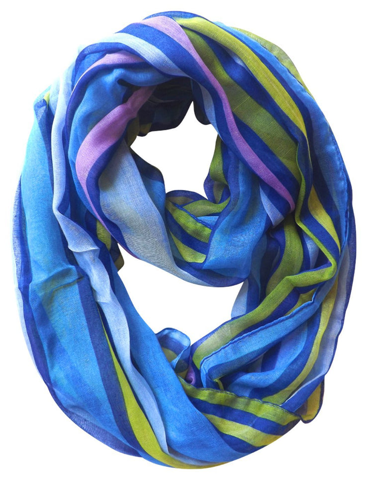 Dark Blue Peach Couture Trendy Striped Print Light and Soft Fashion Infinity Loop Scarf