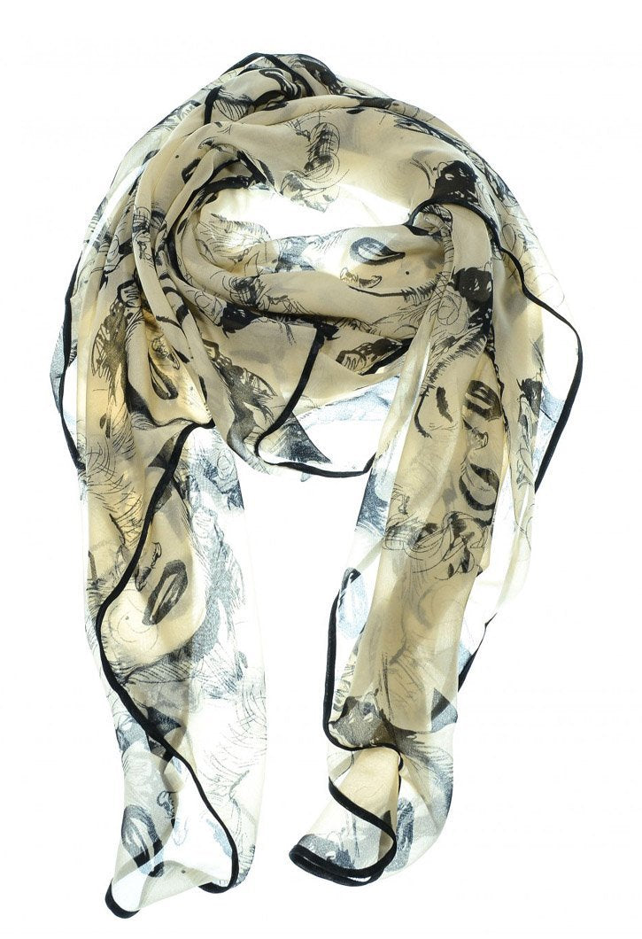 Beige Vintage Chiffon Feel Marilyn Monroe Design Scarf/wrap w/Silk Black Border