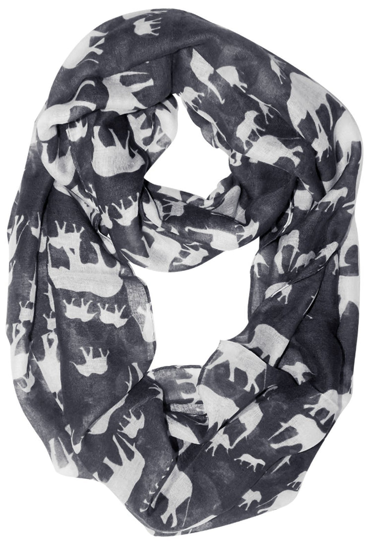 Grey/White Peach Couture Trendy Lightweight Animal Print Artsy Elephant Wrap Scarf Shawl
