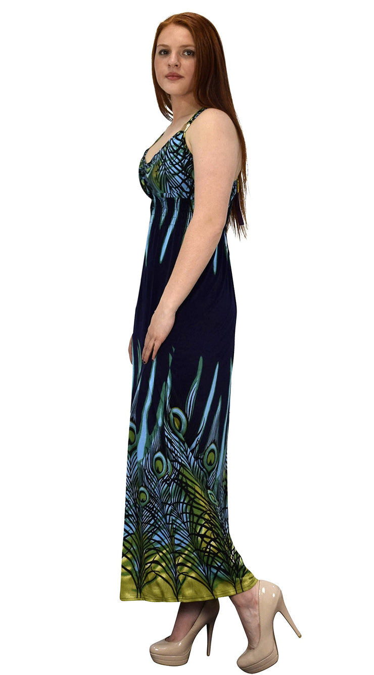 Peach Couture Floral Print Tropical Exotic Cinched Waist Maxi Dresses for Women