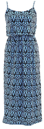 Women's Damask Spring and Summer Sleeveless Blouson Maxi Dress Blue Black Medium