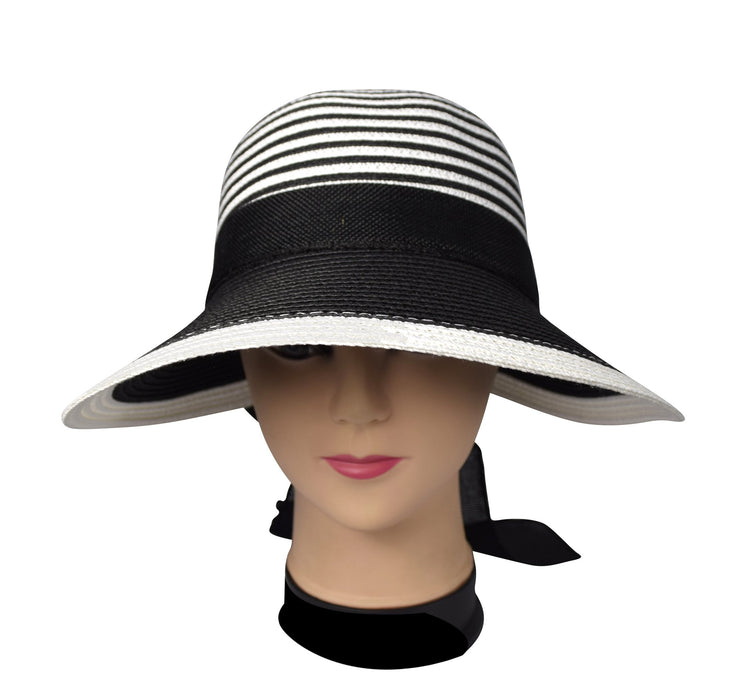 Womens Floppy Bow Knot Asymmetric Wide Brim Panama Sun Hat