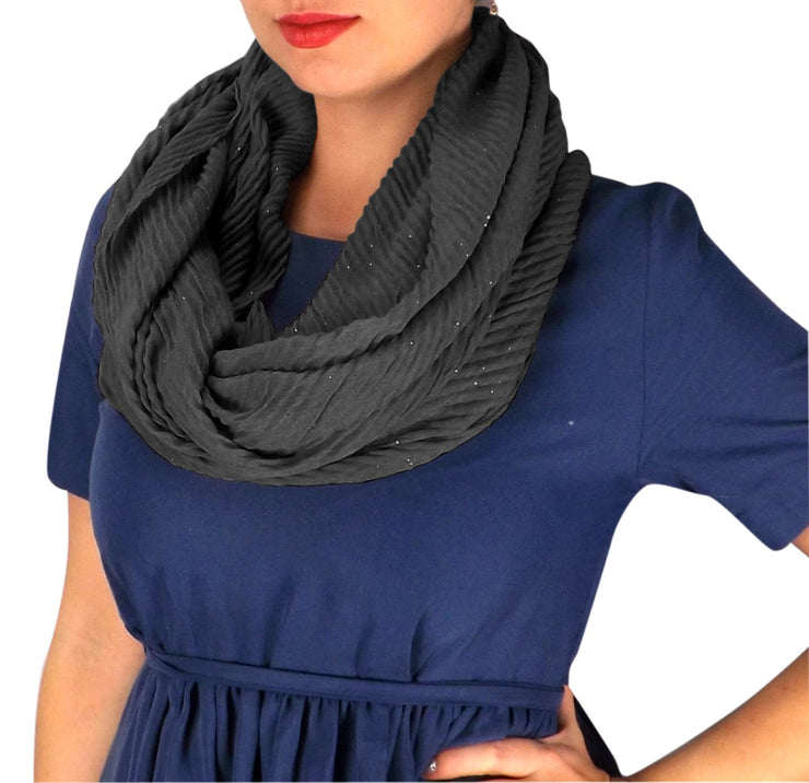 Lightweight Sheer Shimmering Crinkled Pattern Infinity Loop Scarf Black