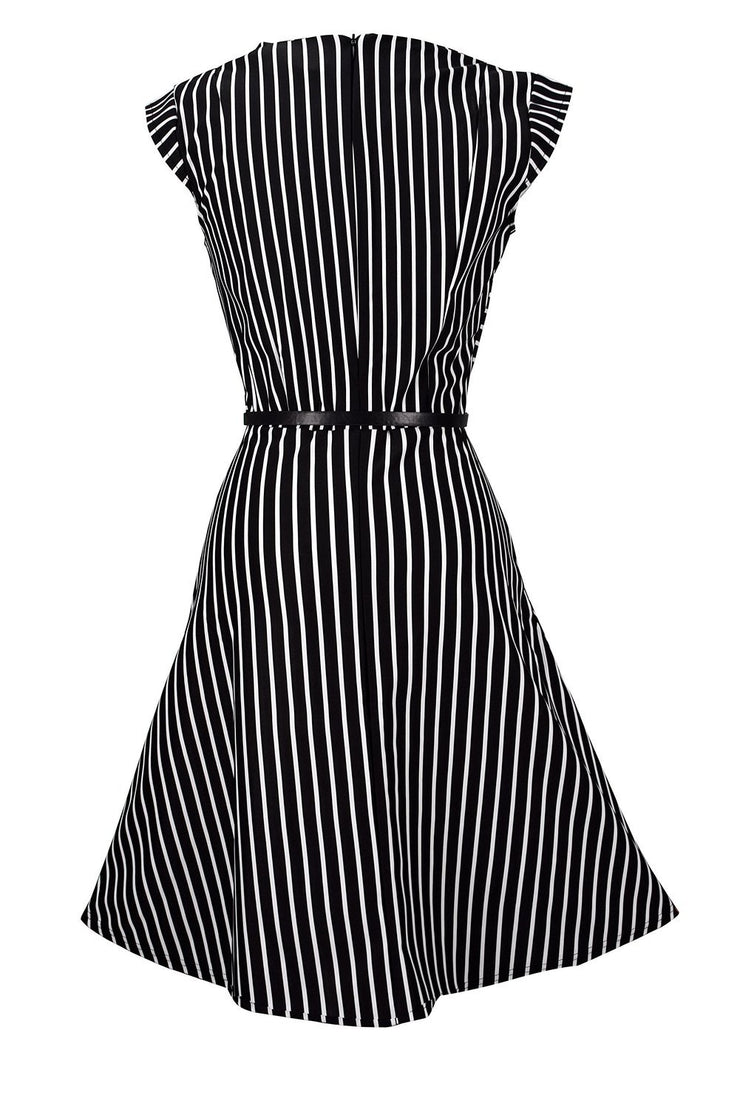 Striped Retro Vintage Inspired Party Cocktail Dress With Belt Tie