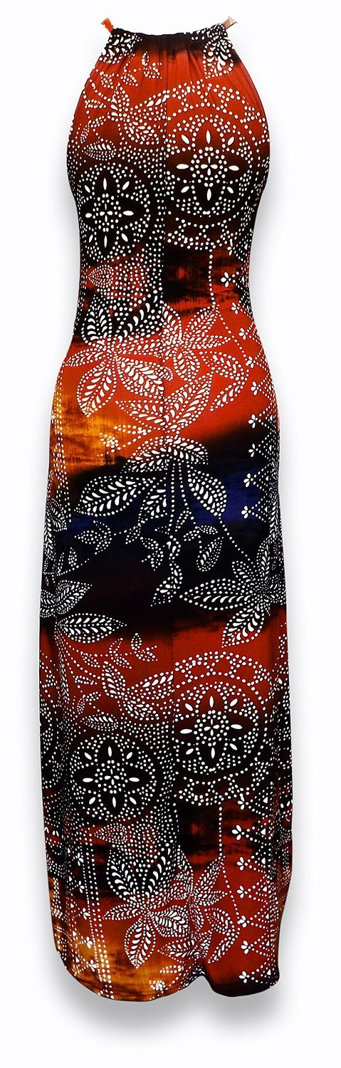 Metal Halter Neck Tropical Maxi Dress Orange X Large