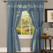 Sophisticated Rich Floral Embroidered Silk Feel 5 Piece Curtain Set