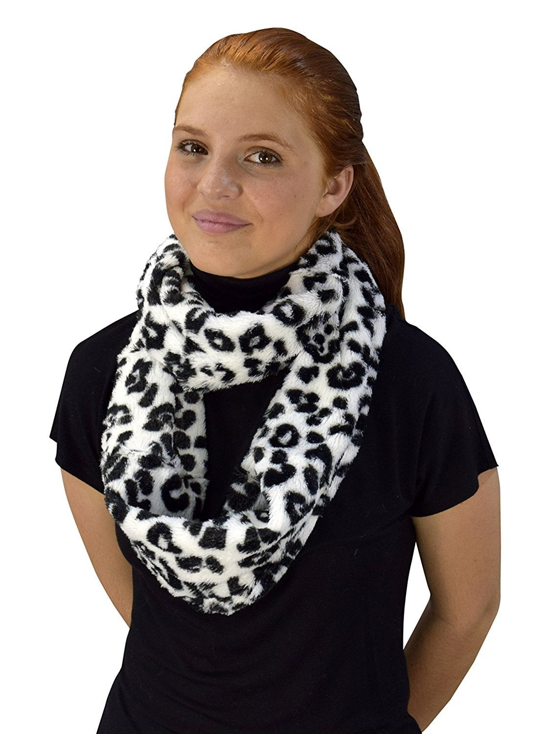 Insulated Faux Fur Leopard Print Plush Cowl Infinity Loop Scarf