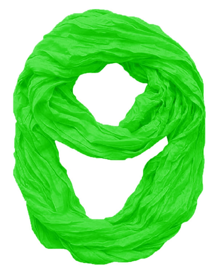 Lime Green Peach Couture Fashion Lightweight Crinkled Infinity Loop Scarf Neon Faded Ombre