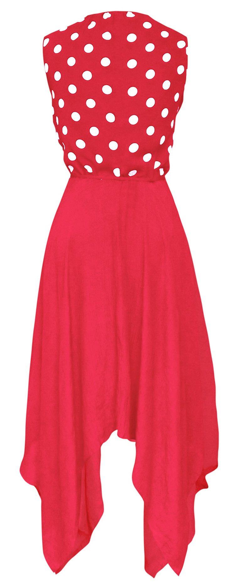 Women's Casual 2 in 1 Polka Dot Flowing Handkerchief Dress (Coral, Medium)