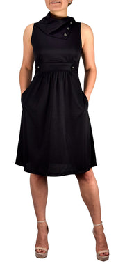 A9837-Foldover-Collar-Dress-Blk-M-KN