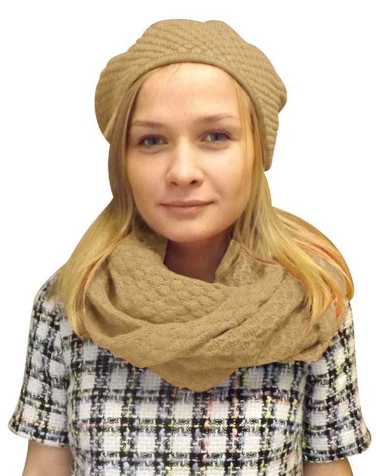 Peach Couture Womens Warm Winter Knit Beret Hat and Infinity Loop Scarf Set