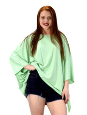 Womens Loose Silhouette Uneven Hem Over Sized Tunic Tops