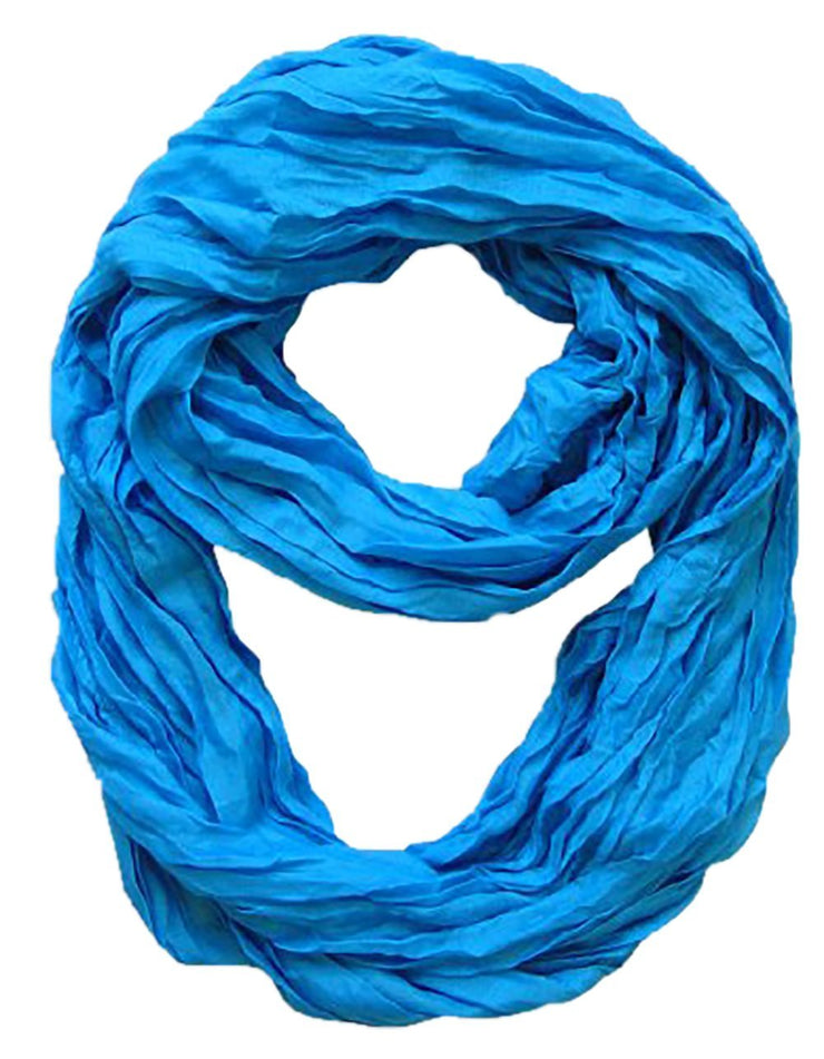 Blue Peach Couture Fashion Lightweight Crinkled Infinity Loop Scarf Neon Faded Ombre