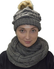 A7111-2Pair-Cable-Hat-Scarf-Grey-KL