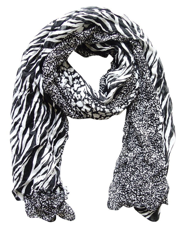 A1149-Animal-Crink-Scarf-Blk-Whit-FBA-SM