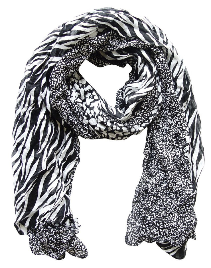 Black & White Peach Couture All Seasons Retro Zebra and Leopard Print Crinkle Scarf