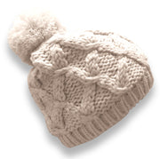 Peach Couture Womens Cozy Warm Crochet Cable Knit Pom Pom Snowboard Winter Hat