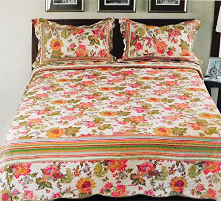 Couture Home Collection Super Fine Elegant Multi-Pattern Vintage Boho Floral Design Reversible Quilt Set - 100% Cotton Fill (Olive Floral, Queen)